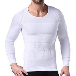 NonEcho Men's Body Shaper Slimming Shirt Compression Baselayer Long Sleeve T-Shirts Tank Top Shapewear