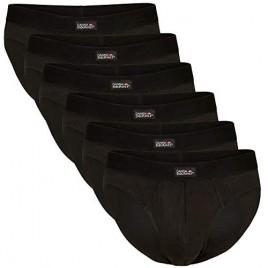 DANISH ENDURANCE Men's Cotton Briefs 6 Pack  Tag-Free  Classic Underwear  Comfortable Hip Waistband  White  Black  Grey