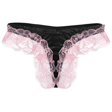 Men's Shiny Satin Frilly Lace Floral Sissy Pouch Thong Panties Maid Cosplay Crossdress Lingerie Briefs Underwear