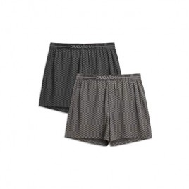 DAVID ARCHY Men's 2 Pack Boxers Shorts with Button Fly Ultra Soft Cotton-Modal Blend Underwear for Men