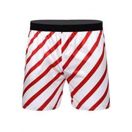 Mufeng Men's Frilly Satin Boxer Shorts Stripe Print Silk Lounge Halloween Christmas Underwear