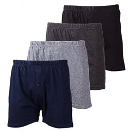 Ultra Mens Color Cotton Knitted Comfort Relaxed Boxer Shorts Underwear (4 Pack)