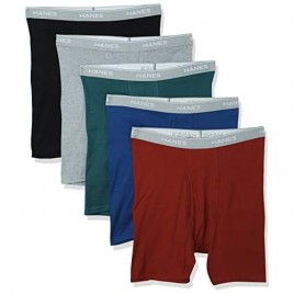 Hanes Men's Tagless Boxer Briefs with Comfort Flex Waistband 5-Pack Assorted_M