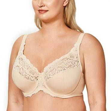DELIMIRA Women's Plus Size Full Coverage Underwire Unlined Cotton Lace Bra Beige 38D