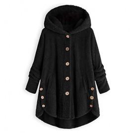 LATINDAY Winter Fuzzy Outerwear Sweatshirt Coat for Women Plus Size Button Plush Hooded Loose Cardigan Wool Coat Jacket