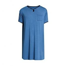 Haseil Men's Nightshirt Comfy Short Sleeve Loose Soft Nightwear Henley Sleepwear
