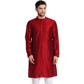 Shatranj Men's Indian Classic Collar Hand Embroidered Placket Long Kurta Tunic