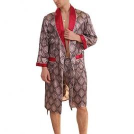 BridalAffair Men's Summer Luxurious Kimono Soft Satin Robe Long-Sleeve Nightgown Printed Pajamas Bathrobes