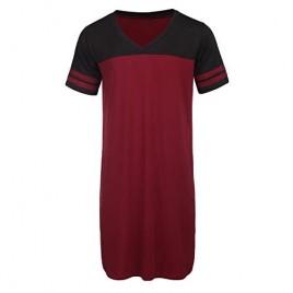Ekouaer Nightgowns Mens V Neck Long Sleeve Sleepwear Big&Tall Pajama Sleeping Wear Loungewear Nightshirts M-XXXL