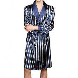 KapokDressy Mens Satin Robe Silk Long Sleeve House Kimono Bathrobe Pajamas Set Soft Dragon Robe Set