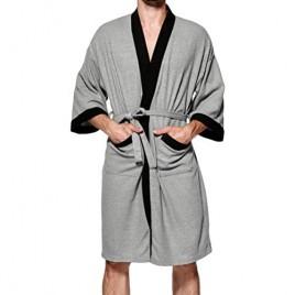 Lavnis Men's Lightweight Kimono Robe Casual Cotton Bathrobe Nightgown Long Sleeve Waffle Weave Sleepwear