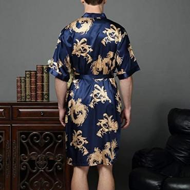 Lu's Chic Men's Satin Kimono Robe Silk Bathrobe Loungewear Spa Long Sleeve Pockets Sleepwear