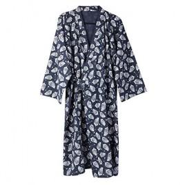 Men's Kimono Robe Yukata Robes Khan Steamed Clothing Pajamas Cotton Bathrobes Nightwear Blue