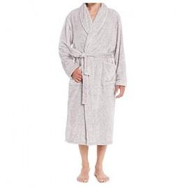 Men's Luxurious Warm Flannel Fleece Bathrobe Soft Lapel Shawl Collar Full Length 2 Pockets Spa Robe