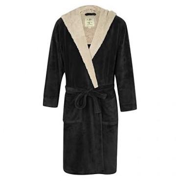 Men's Warm Hooded Fleece Robe Black with Light Gray