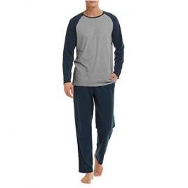 DAVID ARCHY Men's Cotton Raglan Sleepwear Long Sleeve Top & Bottom Pajama Lounge Set