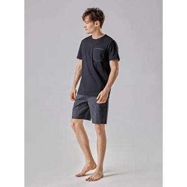 DAVID ARCHY Men's Soft Cotton Sleepwear Short-Sleeve Pajama Set Loungewear