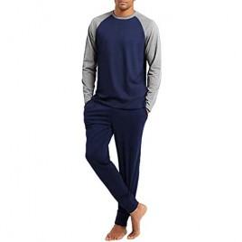 Ekouaer Men's Pajama Set Long Sleeve Pjs Set Top and Pant Sleepwear Soft Lounge Set