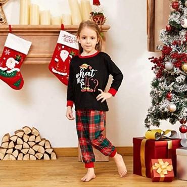 IFFEI Matching Family Pajamas Sets Christmas PJ's Letter Print Top and Plaid Bottom Sleepwear Jammies