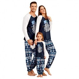 IFFEI Matching Family Pajamas Sets Christmas PJ's with Letter and Snowflake Printed Long Sleeve Tee and Pants Loungewear