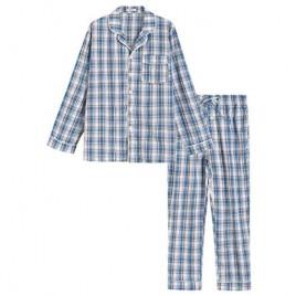 Latuza Men's Lightweight Cotton Pajamas Long Sleeves Shirt Pants Set