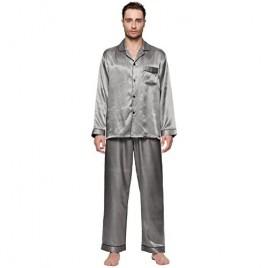 Lavenderi Men's Long Sleeve Silk Satin Pajama Set Silky Pajamas Sleepwear