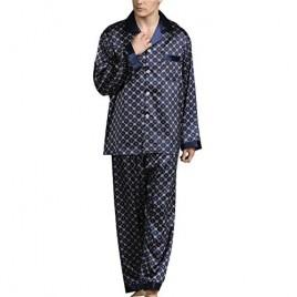 PUWEI Men's Long Sleeve Silk Satin Classic Printed Pajama Set Luxury Silky Pajamas Sleepwear