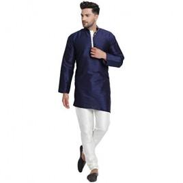 SKAVIJ Men Art Silk Cross Cut Ethnic Kurta Pajama Set Traditional Indian Clothing