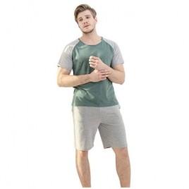 YIMANIE Mens Pajama Set Short Sleeve Cotton Sleepwear Plaid Shorts Summer Set Loungewear