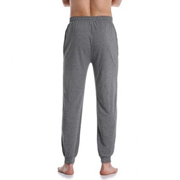 COLORFULLEAF Men's Cotton Pajama Pants Closed-Bottom Knit Jogger Sleep PJ Bottoms with Pockets