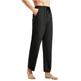 Ham&Sam Men's Knit Pajama Pants Bamboo Cotton Lounge Sleep Bottoms Soft Stretch Lightweight Pants with Pockets & Open Fly