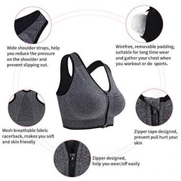 Fapreit Women's Zip Front Closure Sports Bra - Seamless Wirefree Padded Racerback Workout Gym Yoga Bras