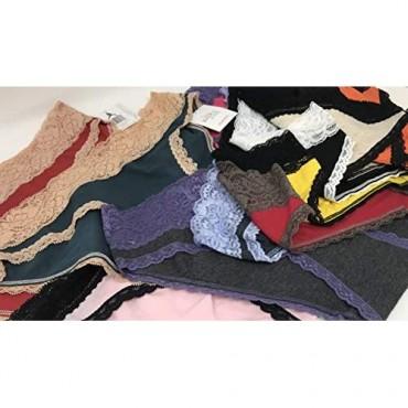 Sexy Basics Womens 12 Pack Bikini Panties Cotton-Spandex Lace Underwear/Ultra-Soft Cotton Stretch Underwear