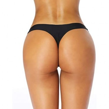 Amorfati Seamless Thong Underwear for Women No Show Thong Panties Invisble Laser Cut Underwear 5 Pack